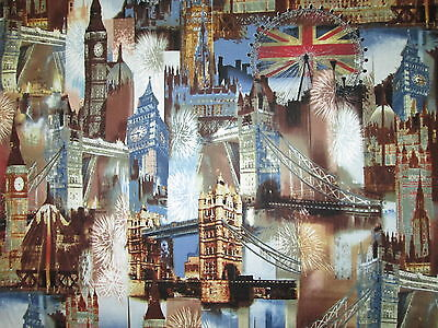 British London City Uk Sites Royal Wedding Blue Cotton Fabric Bthy