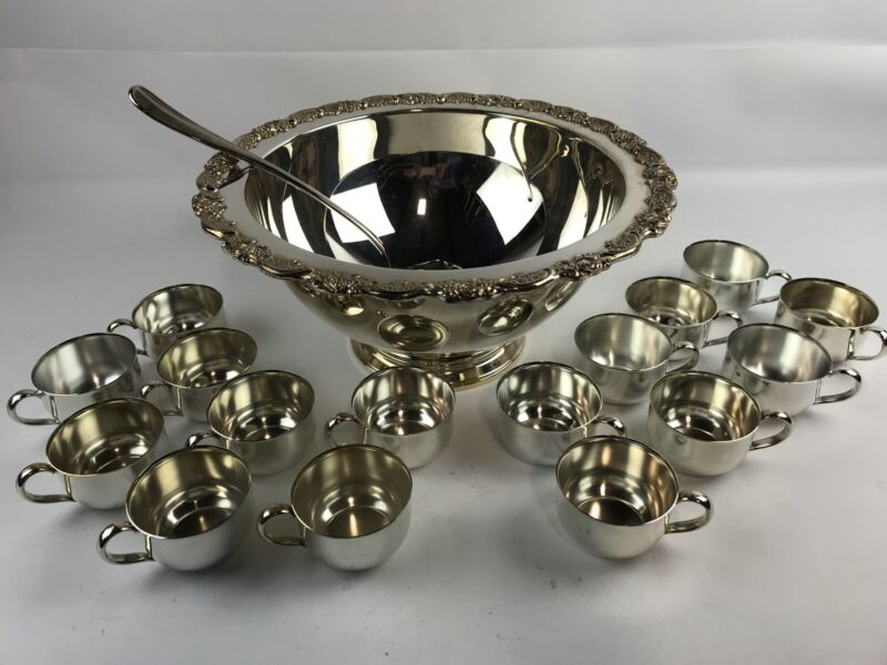 Vtg Oneida USA Silverplated Punch Bowl & 16 Cups & Ladle CLEAN