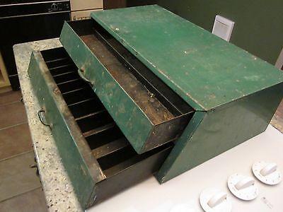 Vintage 2 Drawer Metal Parts Cabinet Old Green Paint Garage Man Cave