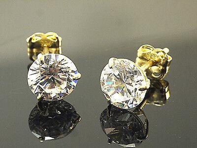 585 Gold  Ohrstecker  mit 3 Krappen 1 Paar 6 mm Grösse mit  Zirkonia Steinen