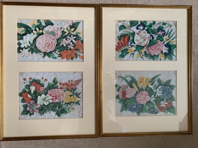 Pair Very Pretty 18c Framed Floral Silk Panels