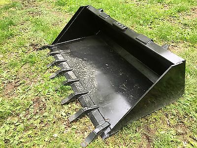 New Heavy Duty 66 Skid Steer Bucket With Teeth For Bobcat Casecat More-5.5