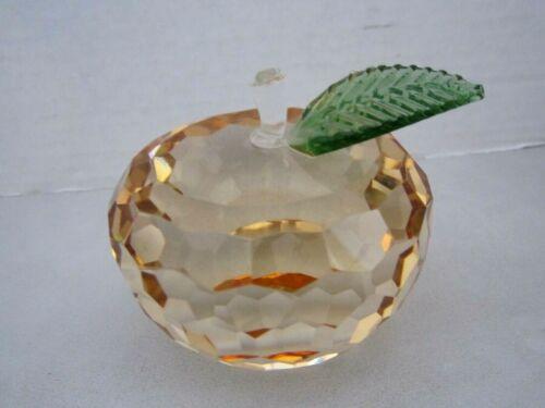 "Simon Design SD Cut Crystal Peach Apple Paperweight. Lt Orange 3"" Beveled"