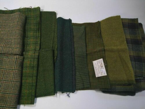 lot 11 greens FELTED WOOL FABRIC penny rug hooking applique hand over dyed 3lbs