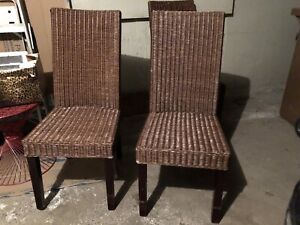 4 dining chairs - wicker with wood legs