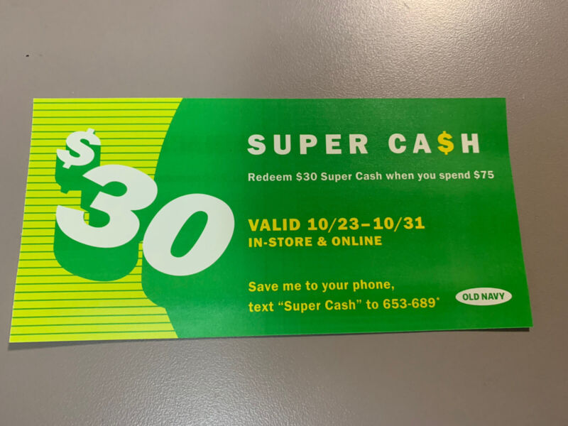 $30 Old Navy Super Cash exp 10/31 electronic delivery only