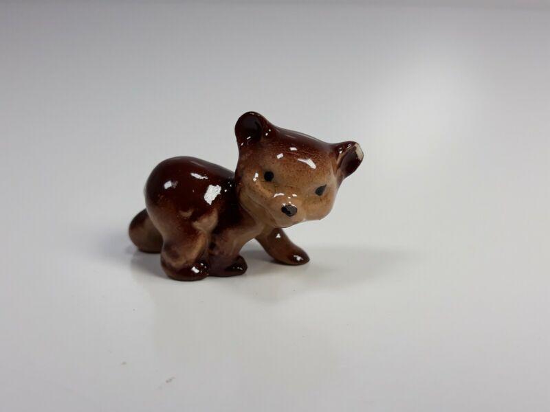 Vtg Hand Painted Porcelain Miniature Bear Cub Figurine Unbranded Chipped Ear