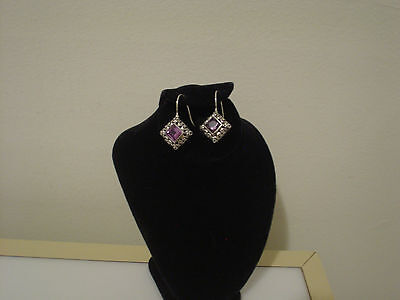 925 fish hook drop earrings square design with purple stones & scrollwork
