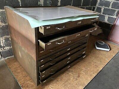 Vintage Metal Steel 5drawer Flat File Cabinet Map Plans Blueprints Rare