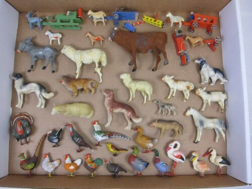 VINTAGE COMPOSITION ANIMALS & MISC. DECORATIVE TOYS-FREE SHIPPING!