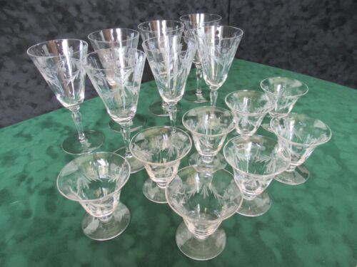 Set (15) semi-antique etched glass wine glasses