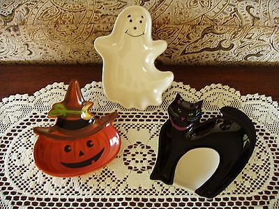 Halloween Party Serving Dishes (LONGABERGER HALLOWEEN PARTY TREAT SERVING DISHES SET OF 3 NIB POTTERY FREE)