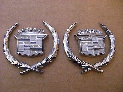 Quarter Panel Chrome Emblem Cadillac DeVille OEM  (((PAIR)))