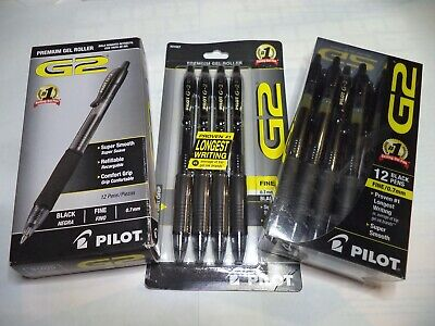 12 Pilot G-2 Retractable Gel Roller Pens Fine Point 0.7mm Black 31136 31020 10