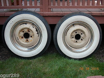 Pair of Vintage Firestone Deluxe Champion Tires with Rims - Tube Type - 16 Inch