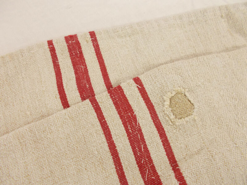 Vtg Antique RED STRIPE HEMP LINEN King Pillowcase 37X22 FEED SACK GRAIN BAG