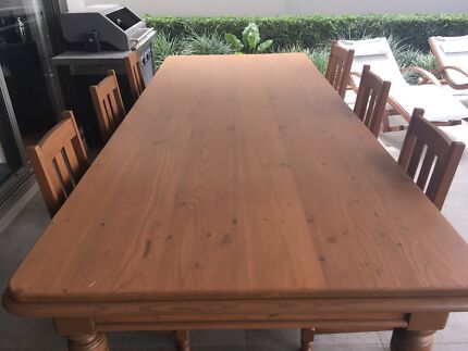 Elm wood table and 6 chairs
