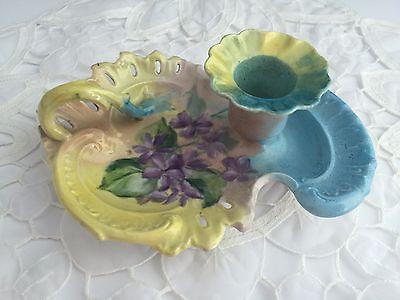 Antique Porcelain Hand Painted Pastel Floral Signed Candle Holder Trinket Dish