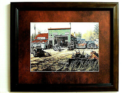 INDIAN MOTORCYCLE PICTURE OLD CARS PRECIOUS METAL KEN ZYLLA MATTED FRAMED 12X15