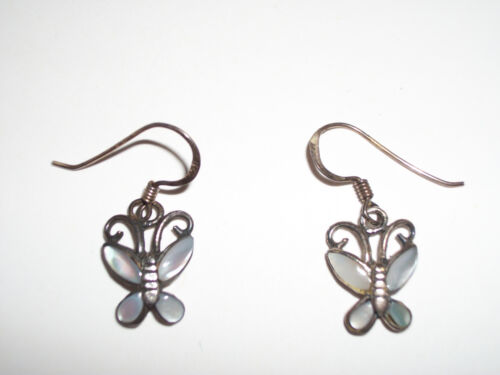 Sterling Silver Signed CW Butterfuly Earrings