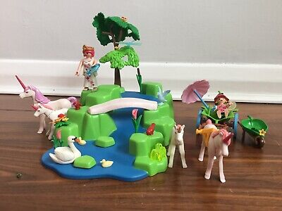 Playmobil 4148 Fairies ,Unicorn, Garden With Extra Fairy And Unicorns
