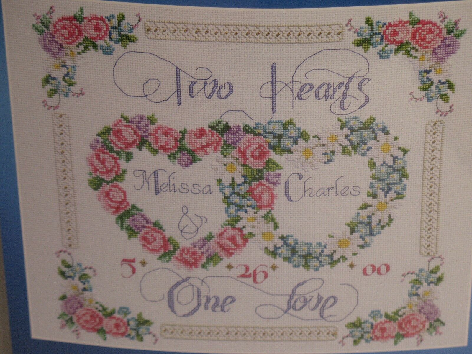 JANLYNN COUNTED CROSS STITCH KIT TWO HEARTS ONE LOVE WEDDING