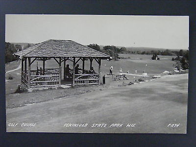Peninsula State Park Wisconsin WI Golf Course Real Photo Postcard RPPC 1940s ()
