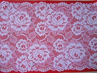 White Border Trim (Elegant WHITE Lace Trim elastic 19.5 cm wide Border great offer #81ENg)