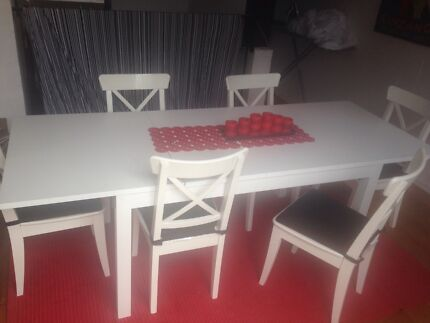 White IKEA dining table and 6 chairs Albert Park Port Phillip Preview