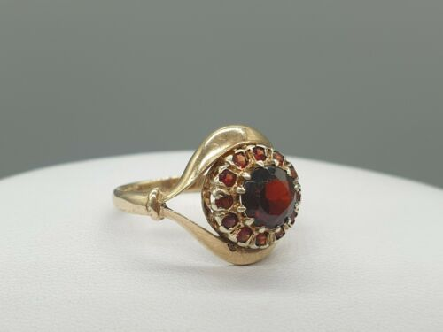 Vintage 9K 9ct Gold Garnet Ring Dated 1964 UK N US 7 yellow gold cluster ring