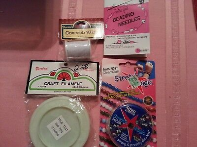 Jewelry Making Supplies - stretch cord, filament, covereb wire & beading needles