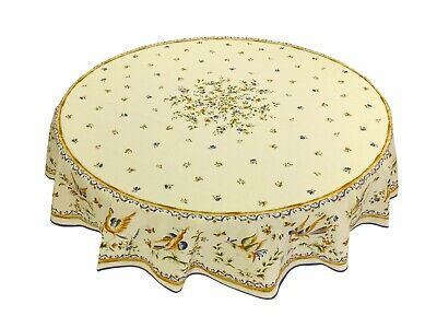"""French Provencal 100% Cotton Tablecloth Moustiers Birds/Flowers Sad Round 71"""""""