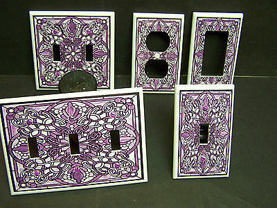 STAINED GLASS STYLE #4  FLORAL  PURPLE  LIGHT SWITCH OR OUTLET COVER  ()