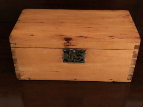 Beautiful Antique Wood Document Dovetail Box - Pine or Maple