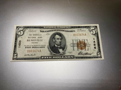 RUSHVILLE, INDIANA 1929 NATIONAL NOTE. CHARTER 1456.