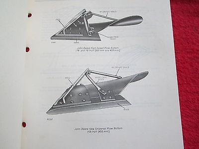 1978 Jd John Deere High Speed Semi-deepslat Plow Bottoms Parts Catalog Manual