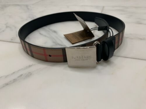 Burberry Boys Plauqe Buckle Vintage Check E-canvas Belt