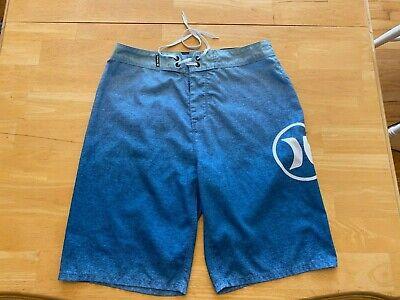 Hurley Men's Size 30 Board Shorts Swim Trunks Blue White GUC
