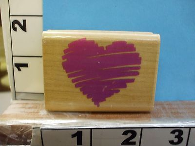 (posh impressions heart sketch scribble rubber stamp 1Q)