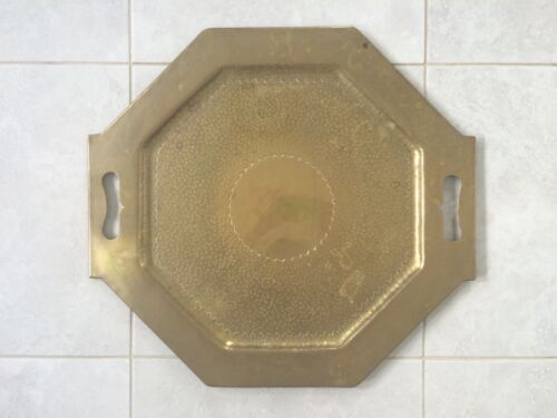 VINTAGE ART NOUVEAU ? TWIN HANDLED OCTAGONAL BRASS TRAY APPROX 60cm DIA.