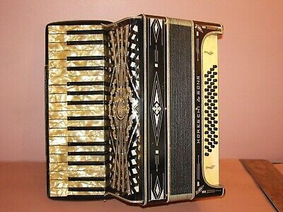 ANTIQUE  ~ MORESCHI & SONS ACCORDION ~ 34/48 ~ GREAT CONDITION ~ INCLUDES CASE