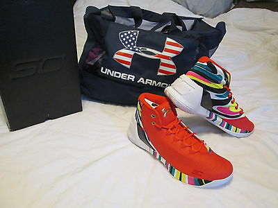 NEW Mens Under Armour Curry 3 CNY Rocket Red Basketball Shoes 12...