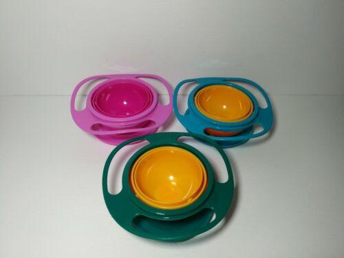 Useful 360 Degree Rotating Gyro-Bowl Children No Spill Bowl Baby Balance w/ Lid