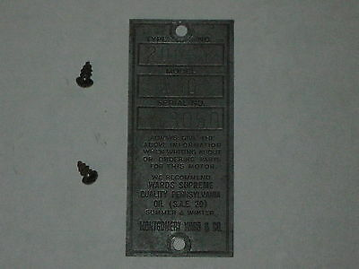 Antique Old Briggs Stratton Serial Tag Wards Wmg 3050