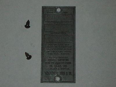 Antique Old Briggs Stratton Serial Tag Wards Wmg 3050