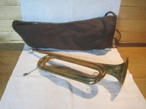 Vintage Rexcraft US Regulation brass bugle with mouthpiece & cloth case