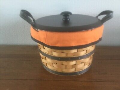 Longaberger Small Bushel Basket Halloween Boo Liner, Protector, Lid