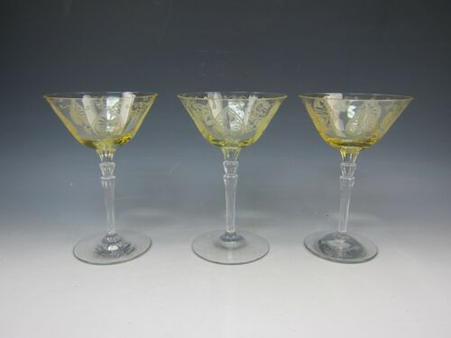 Lot of 3 Fostoria Crystal TROJAN TOPAZ Champagne/Tall Sherbet EXCELLENT