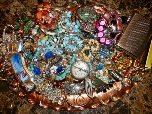 5LB 11oz Junk Drawer Jewelry Lot Packed Tray Necklaces Bracelets Metal Rings W0W