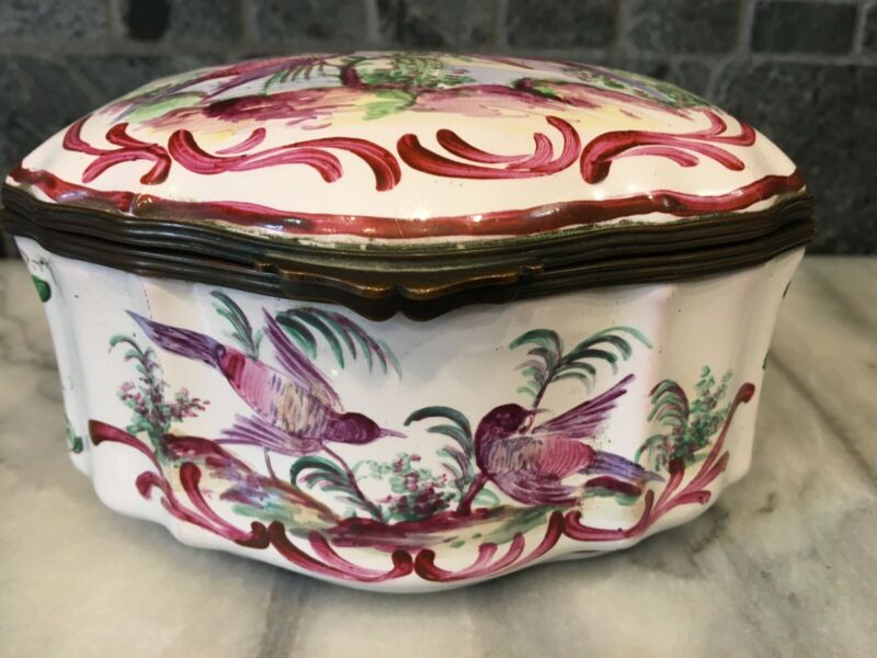 Aprey French Faience Trinket Box Flowers &  Exotic Birds France Porcelain ~6x4""